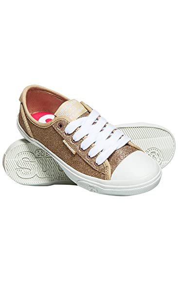 Superdry Damen Low Pro Glitter Sneaker Slip on, Grau (Silver Glitter Eui), 41 EU