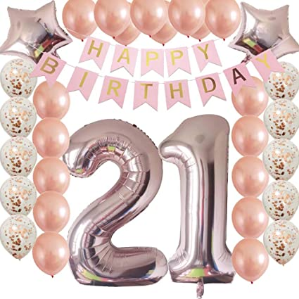 40inc 21st Birthday Decorations Party Supplies Set Rose Gold Confetti Latex Number Balloons Happy