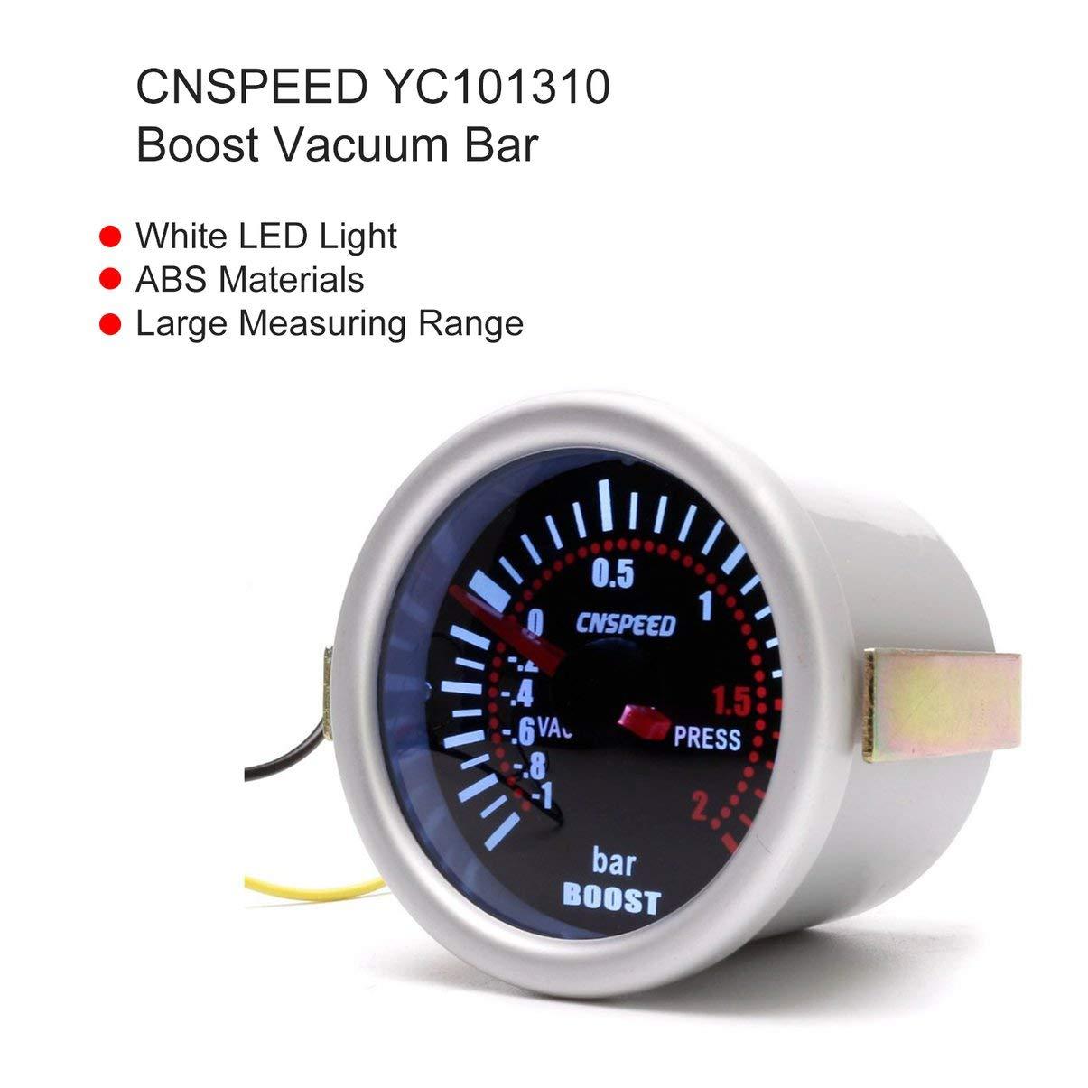 CNSPEED YC101310 Digital Universal 52mm Turbo Boost Vacío del coche -1~2 BAR manómetro de presión de presión medidor de indicador de humo Len LED: ...