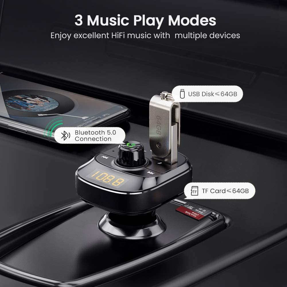 LED Backlit UGREEN Car Bluetooth Transmitter FM Radio Adapter Handsfree Car Kit PD3.0 and QC3.0 24W//4.8A Wireless Bluetooth 5.0 Car Kit with Hands Free Calls Support TF Card USB Flash Drive
