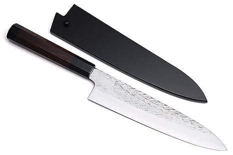 Yoshihiro Aoko acero azul Gyuto japonés cuchillo de chef 8 ...