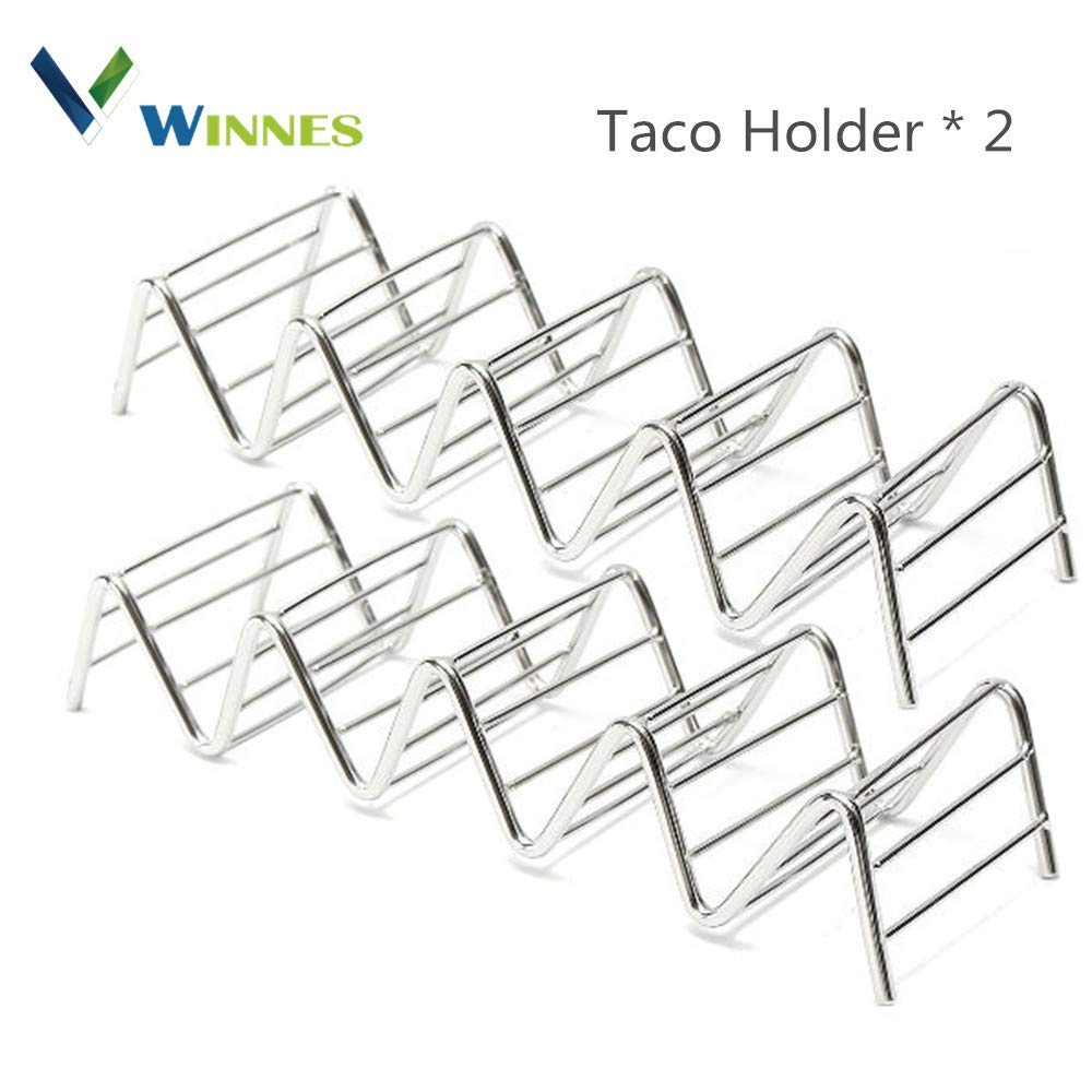 Taco Holders, Winnes Stainless Steel Taco Holders Hard or Soft Shell Tacos Safty for Grill Oven and Dishwasher, Set of 2
