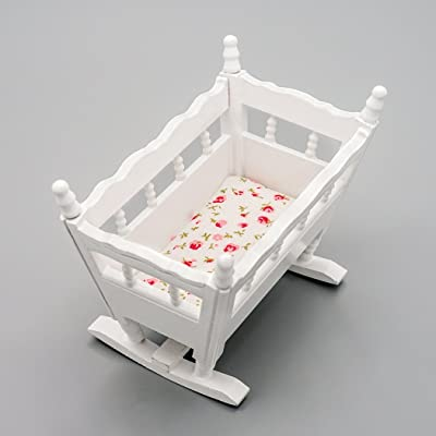 Odoria 1:12 Miniature Baby Cradle Doll Crib Bed Dollhouse Decoration Accessories: Toys & Games