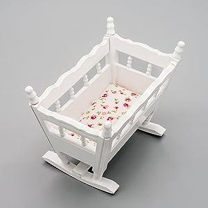 Odoria 1:12 Miniature Baby Cradle Doll Crib Bed Dollhouse Decoration Accessories
