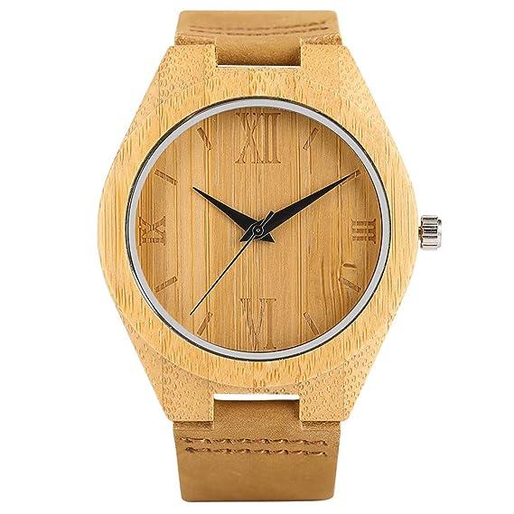 Reloj de Madera de bambú, Reloj de Pulsera de Cuarzo de Madera con números Romanos de Piel auténtica, Pulsera de bambú: Amazon.es: Relojes