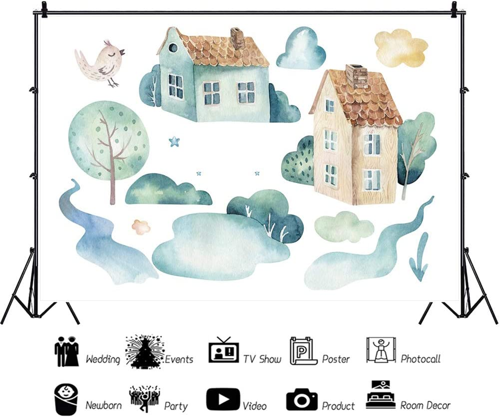 Yeele Watercolor Trees Houses Backdrop Kids Birthday Party Photography Background 10x8ft Baby Shower Acting Show Baby Kids Portrait Preschool Events Photo Booth Dessert Table Wallpaper