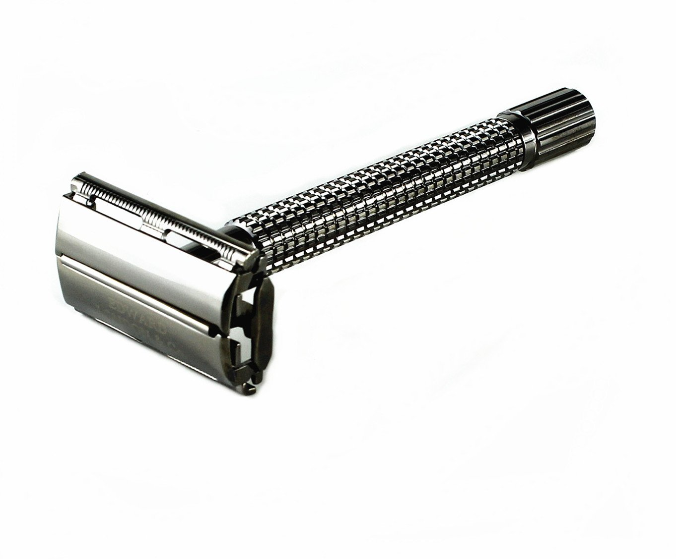 Edward London & Co Pearl Black Heavy Long Handle Double Edge Butterfly Open Safety Razor