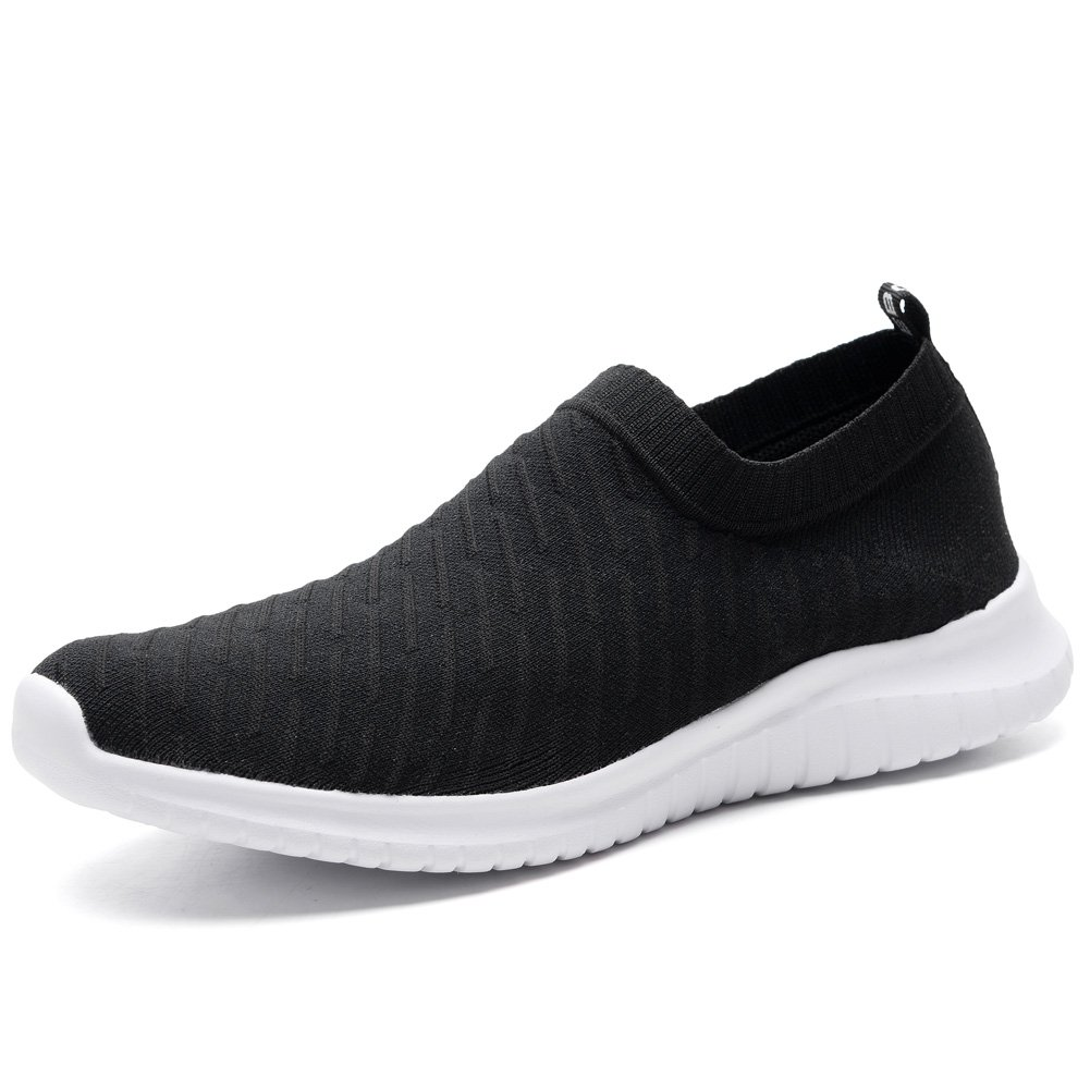 TIOSEBON Women's Walking Shoes Lightweight Mesh Slip-on- Breathable Running Sneakers 5 US Black
