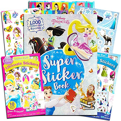 Disney Princess Sticker Activity Book Super Set -- 3 Disney Princess Frozen Sticker Activity Books (Over 1800 Stickers ()