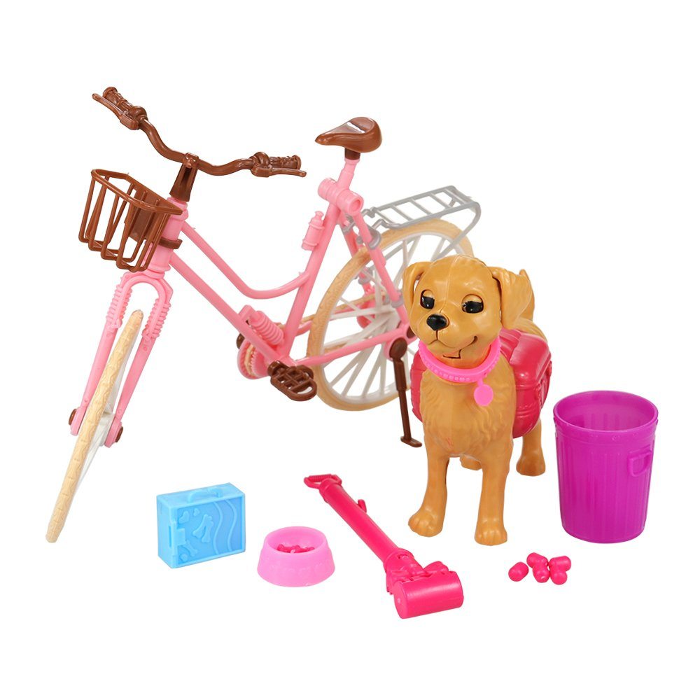 1x Conjunto de Accesorios Mascotas como Regalo para Mu/ñeca Barbie Miunana 1x Bicicleta