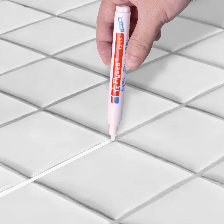 ABOAT Pennarello bianco per la riparazione delle fughe con punta di ricambio per ripristinare laspetto delle piastrelle bianco
