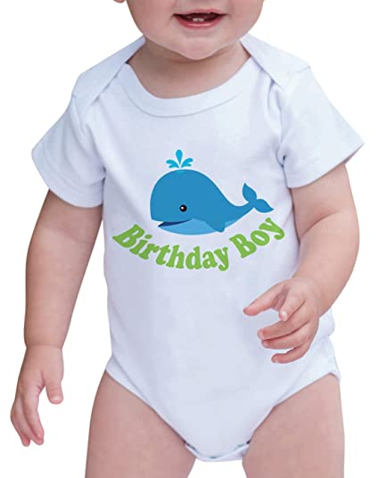 0bead346f6cb0 Custom Party Shop Baby Boy's Whale Birthday Boy Onepiece 0-3 Months Aqua  Blue and