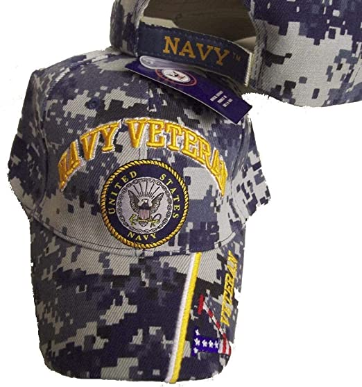 f63193b793c Image Unavailable. Image not available for. Color  United States Navy  Veteran V Blue CAMO Baseball Style Embroidered Hat us USA Cap