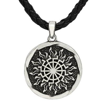 LoveInDec Sun Wheel Black Sun Kolovrat Slavic Amulet pendant norse