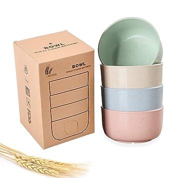 Eco Friendly Healthy Wheat Straw Plastic Bowl For Soup, Popcorn, Fruit, Kids Snacks, Salad, Fda Approved, Bpa Free, Set Of 4 Pcs by Yamazi Hd