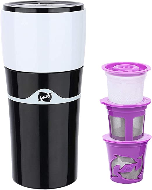 Fecihor Mini cafetera de viaje, cafetera portátil de cerveza fría compatible con 3 cápsulas reutilizables K-Cup y taza de café molida para exteriores, camping u oficina, 15 onzas: Amazon.es: Hogar