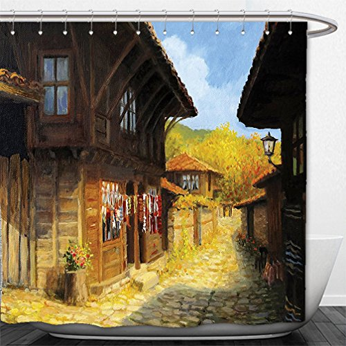 180X 180CM Spanish House Print Polyester Fabric Shower Curtain - 6