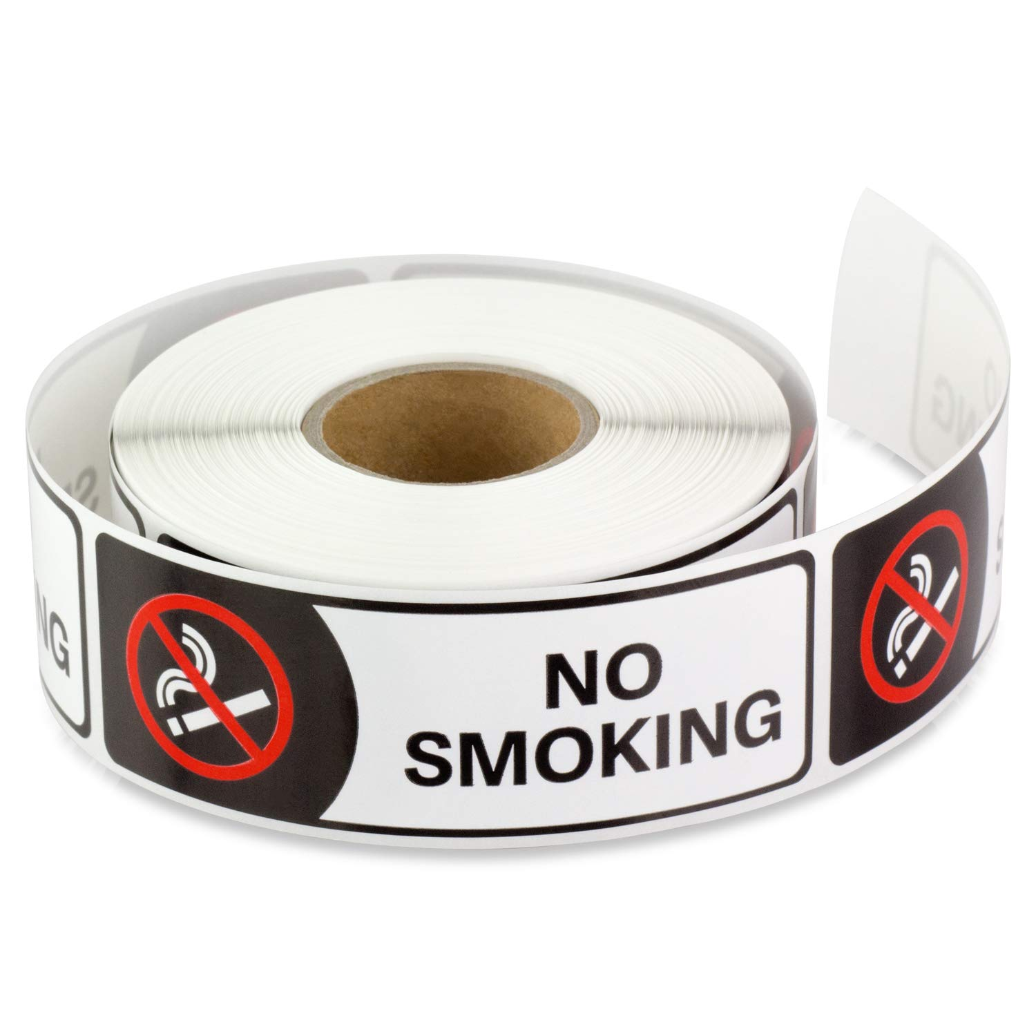 TUCO DEALS 3 x 1 Inch Rectangle - NO Smoking Warning Alert Stop Smoke No Cigarette Logo Safety Sign Window Door Wall Sticker Labels (Black/White, 2 Rolls Per Pack)