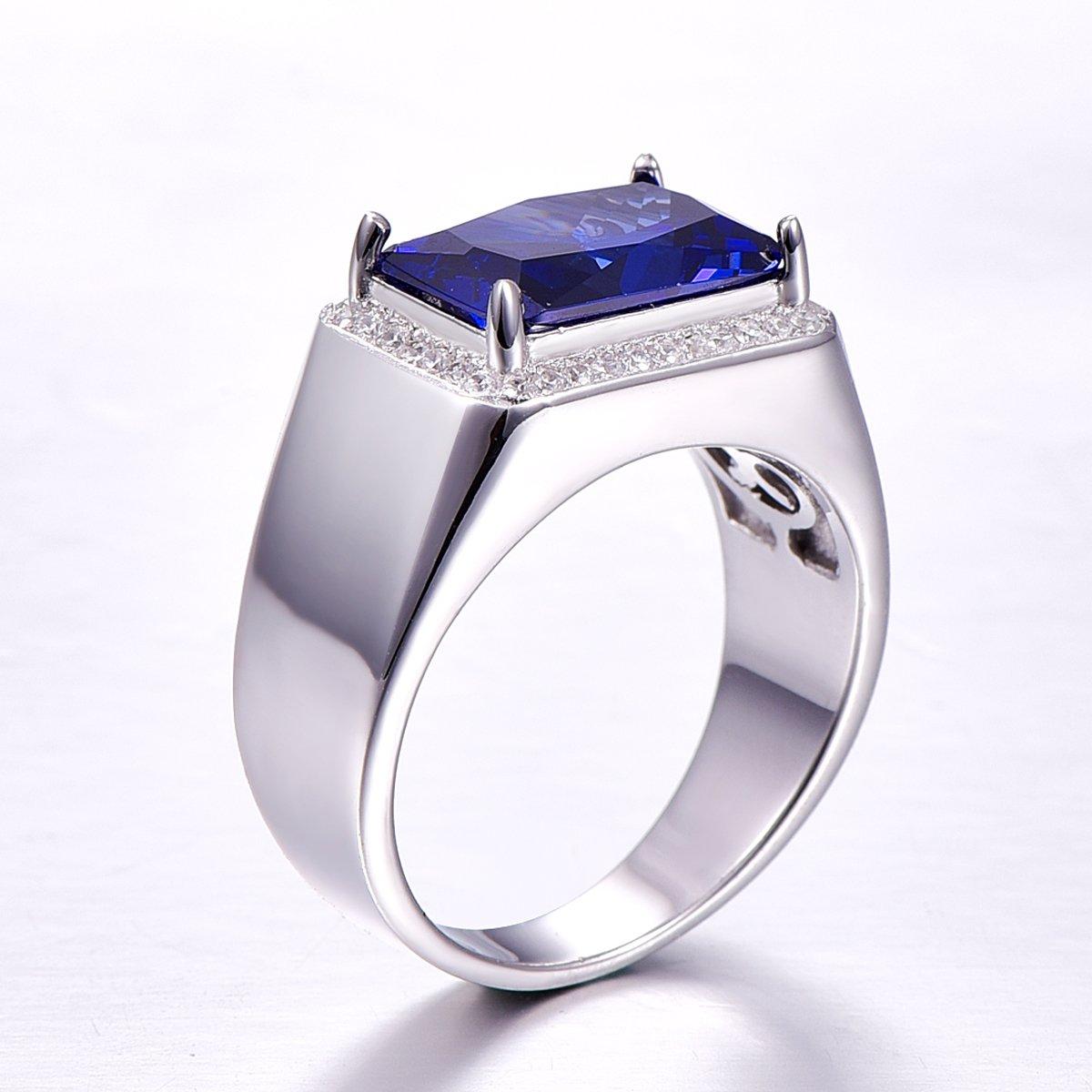 BONLAVIE 7.0ct Square Created Blue Sapphire 925 Sterling Silver Men's Ring Size 6 by BONLAVIE (Image #4)
