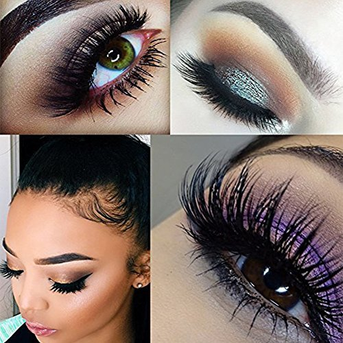 Nicewig Natural Long-Lasting Mink False Eyelashes- Individual Set of Prime Thick Fake Long Black Lash for Beauty and Makeup- Best Dramatic Top Wispies Extension Pair on Thin Eye Strip with Box 014