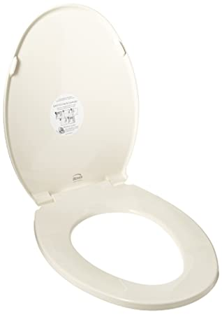 bemis toilet seat hinges. Bemis 1800EC346 Plastic Elongated Toilet Seat with Easy Clean and Change  Hinges Biscuit Linen