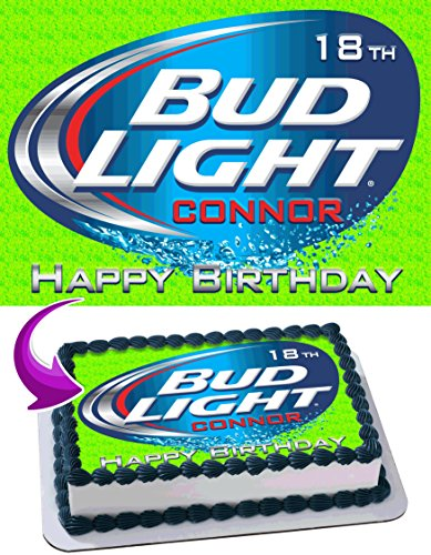 Bud Light Beer Edible Cake Topper Personalized Birthday 1/4 Sheet Decoration Custom Sheet Party Birthday Sugar Frosting Transfer Fondant Image ~ Best Quality Edible Image for cake
