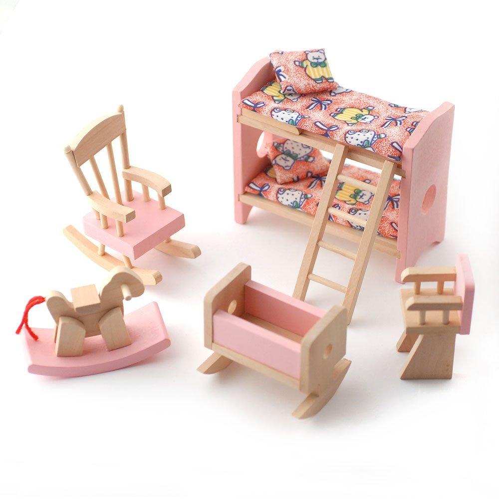 Wooden Dolls House Furniture Set   PINK Childrens Bedroom