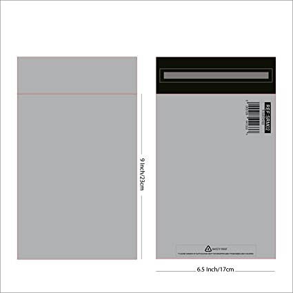 100 bolsas de plástico resistente para correo, polietileno,12 tamaños., color gris 6.5x9 Inch