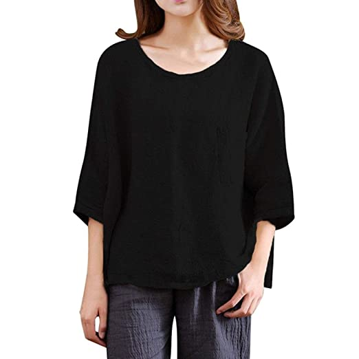 f88e8b75472c Amazon.com: Easytoy Womens Ladies Loose 3/4 Sleeve Baggy Cotton Linen  Casual T-Shirt Tops Blouse Plus Size: Clothing