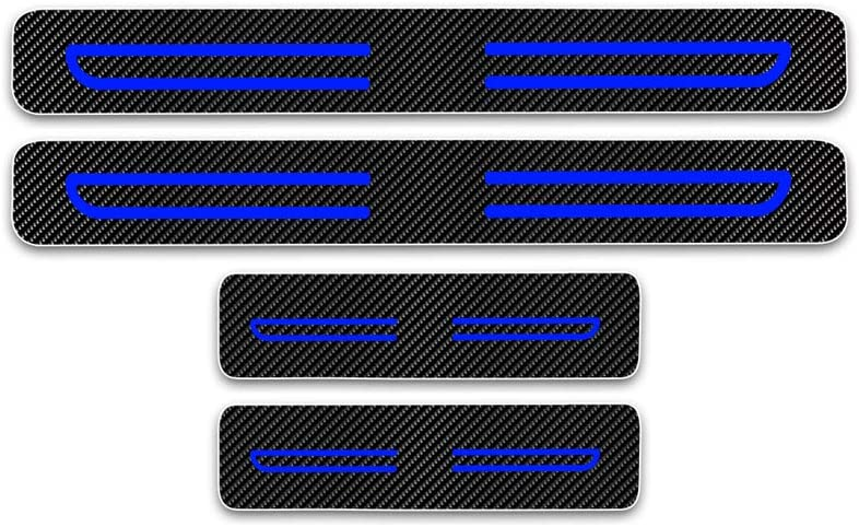 Door Sill Trims Cover Blue 4Pcs For Insignia Combo Cargo Vivaro Movano Kick Plate Protectors Carbon Fiber Scuff Plate Guard