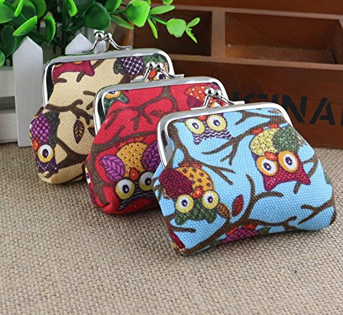 YEAH67886cute Owl tela della moneta bag borse per signore e ragazze (blu)