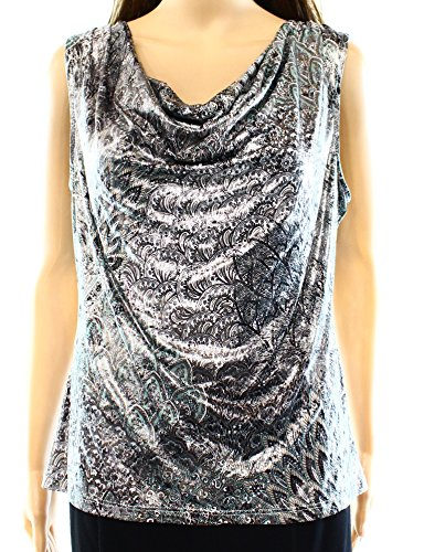Shell Neck Drape Print (MSK Printed Sequin Women's Large Drape-Neck Blouse Silver L)