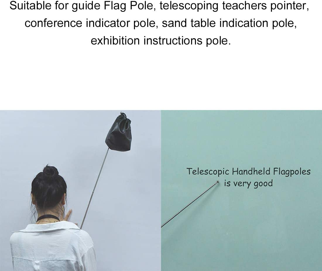 sourcing map 5.25ft//1.6M Telescopic Handheld Flagpoles Telescopic Guide Flag Pole Sponge Handle Teaching Pointer for Tour Guides and Teachers Yellow