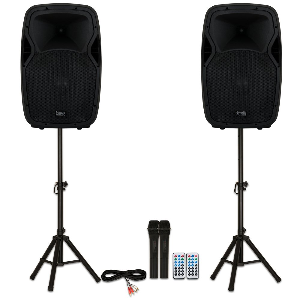 Acoustic Audio AA15BS Powered 2000 Watts 15'' Bluetooth Speakers with Batteries Wireless Mics and Stands