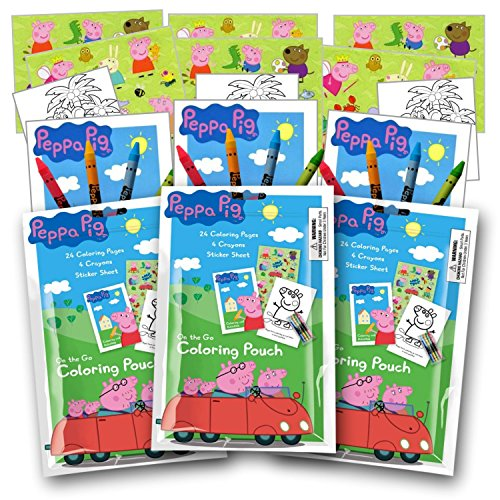 Peppa Pig Coloring Pack Party Favors with Stickers, Crayons and Coloring Activity Book in a Resealable Pouch ()