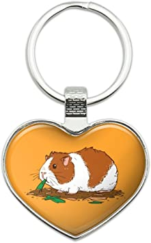 Amazon Com Guinea Pig Eating Keychain Heart Love Metal Key Chain Ring Office Products