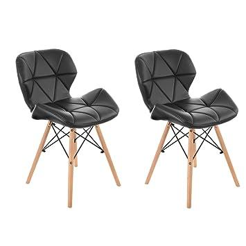 Bürostuhl design holz  Panana 2er Set Wohnzimmerstuhl modern Eiffel Design Gepolsterter ...