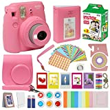 Fujifilm Instax Mini 9 Camera Flamingo Pink Accessory kit for Fujifilm Instax Mini 9 Camera Includes Instant camera Fuji Instax Film 20 pack Instax Case with strap Instax Album + Frames lenses + more
