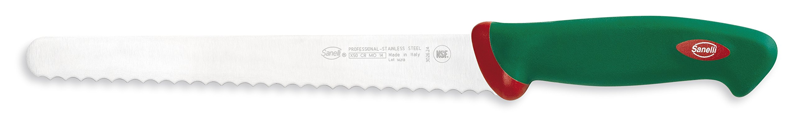"""Sanelli Premana Professional Bread Knife, 24cm/9.44"""", Green 1 The exclusive ergonomic handle design is the result of special studies carried out at qualified University Institutes to ensure the best balance and grip The handle is perfectly balanced with the blade; Semi-rigid serrated knife, for slicing bread, cakes, pizza The material used is non-toxic and complies with the European rules; Made in Italy"""