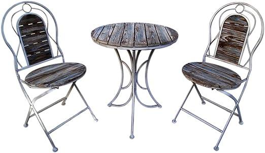 CIGONG Balcón Europeo De Hierro Forjado Jardín Terraza Al Aire Libre Bar Al Aire Libre Ocio Jardín Mesa Y Silla Combinación De Tres Piezas Mesa pequeña (Size : One Table+Two stools): Amazon.es: