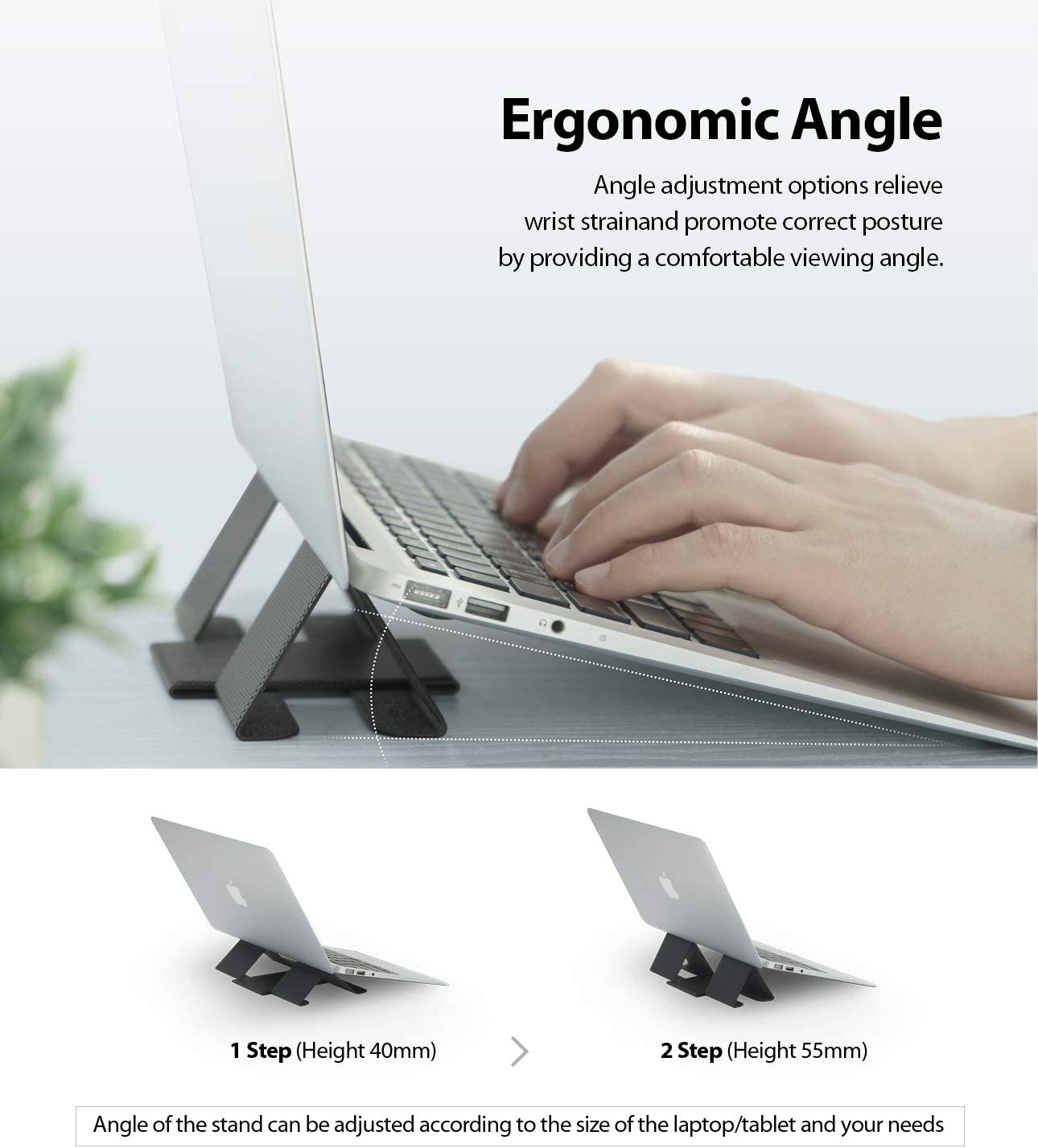 Ringke Folding Stand 2 Gray Faltbar und Tragbar Schwerlos Laptop St/änder Bel/üftet Cooling f/ür MacBook Notebook Computer iPad Tablet
