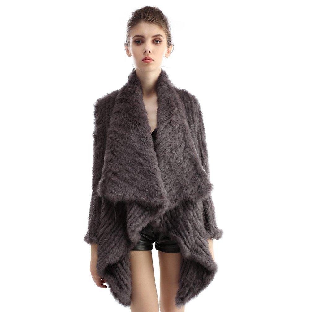 OLLEBOBO Women's Genuine Rabbit Fur Knitted Jacket with Collar Dark Grey by OLLEBOBO