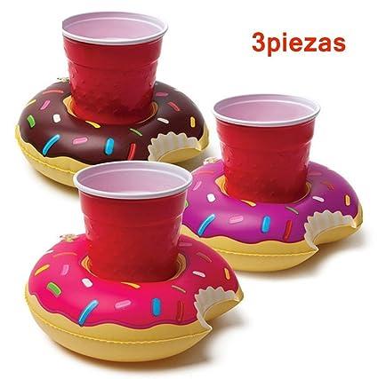 Posavasos de Flotador Pato Titular de Bebida Inflador 3 Pcs Colchonetas y Juguetes Hinchables de Bar