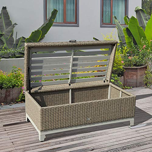 Orange Casual Rattan Wicker Deck Storage Box Small Outdoor Storage Bench with Seat Cushion, Aluminum Frame, Tan Rattan and Beige Cushion-Light Dry Wheat Color