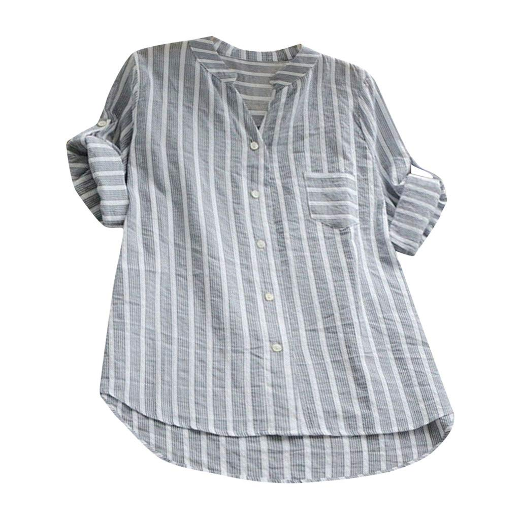 【MOHOLL】 Womens Striped V Neck Blouses Loose Long Sleeve Tops Pocket Button Top T Shirts Plus Size Gray