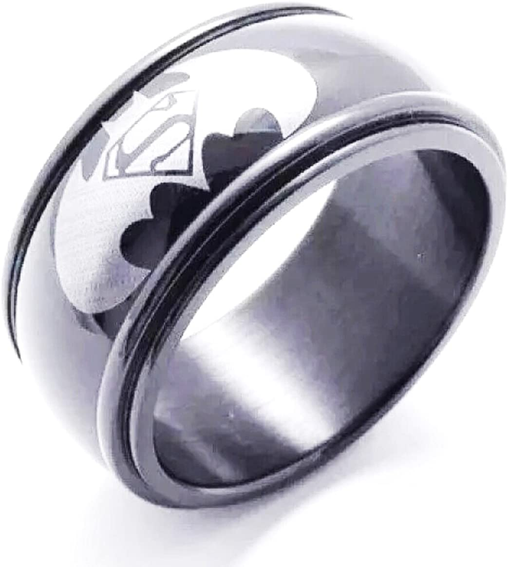LAVASTORM 8mm Batman Ring Mens Wedding Stainless Steel Engagement Size 6-14 Rings