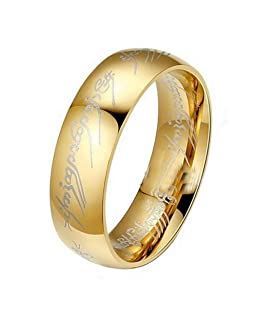 Men's Titanium Rings,Yukong Stainless Steel Gold Ring Jewelry Wedding Band For Men (Gold, 11)