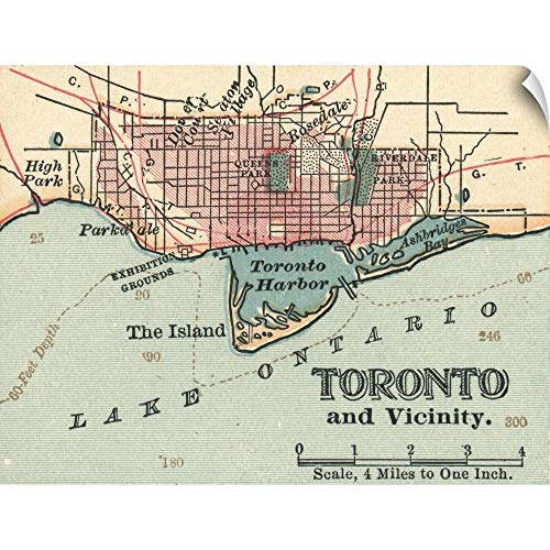 CANVAS ON DEMAND Toronto - Vintage Map Wall Peel Art Print, 48