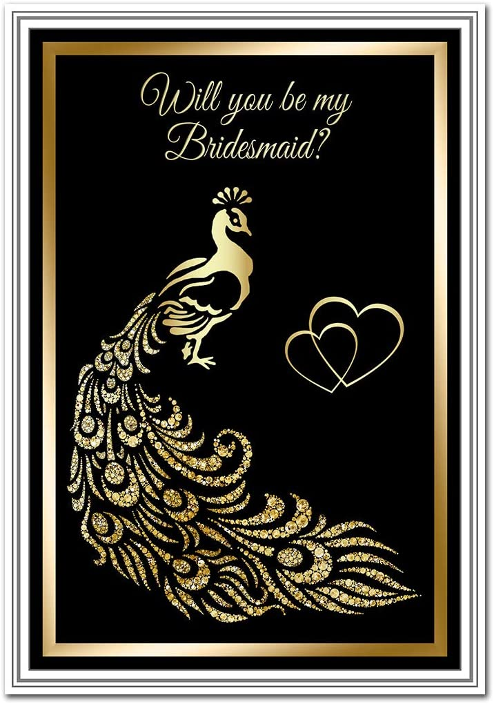 Unusual Unique Gold Peacock Silhouette Theme Elegant Request Cards Ideal for Asking Bridesmaids Sister Cousin Friends Beautiful Keepsake Best Quality Will You be My Bridesmaid Card