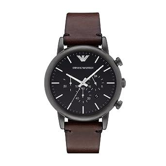 54d155feb Amazon.com: Emporio Armani Men's AR1919 Dress Brown Leather Watch ...